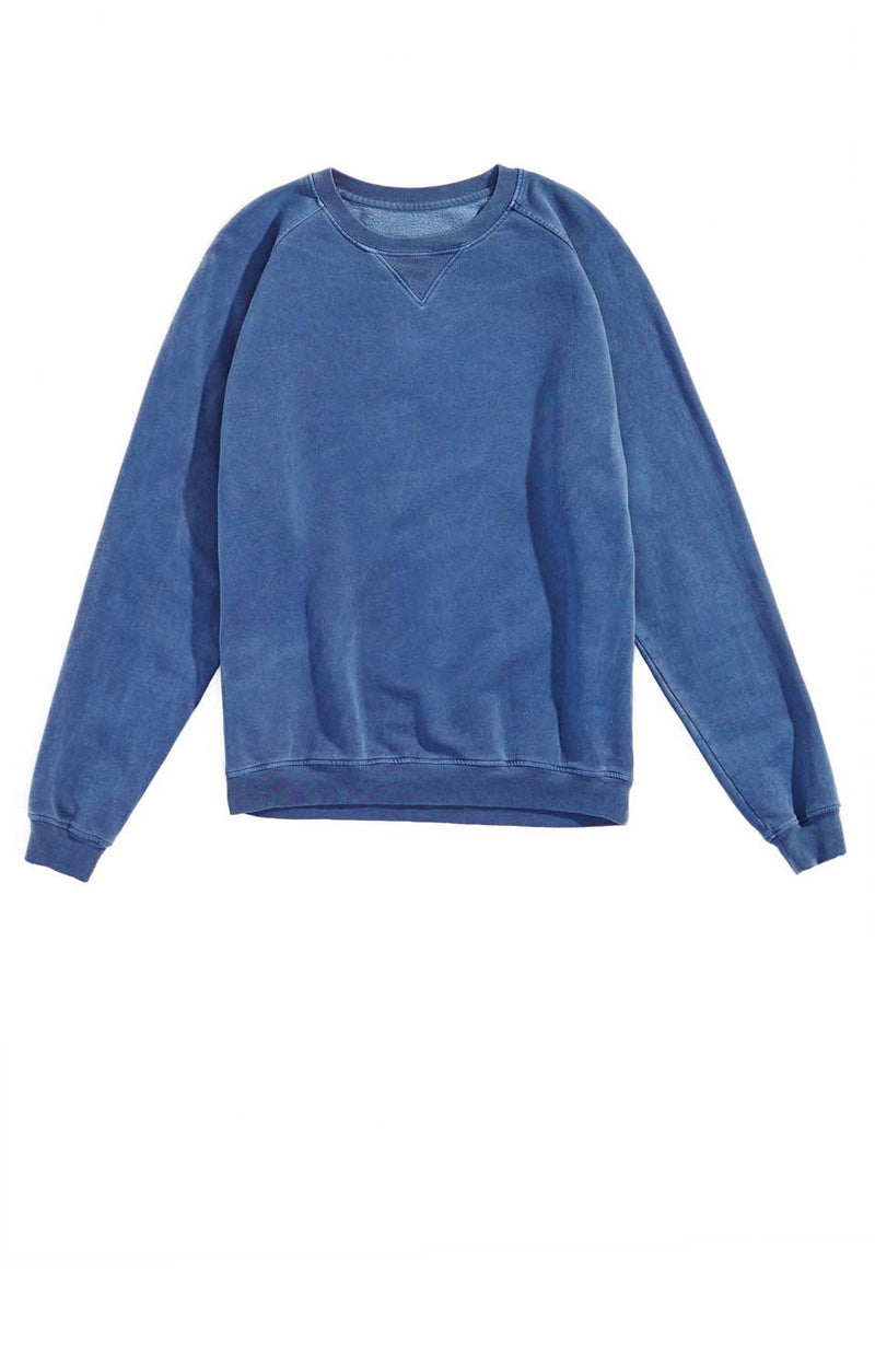 collegiate raglan crewneck vintage blue side