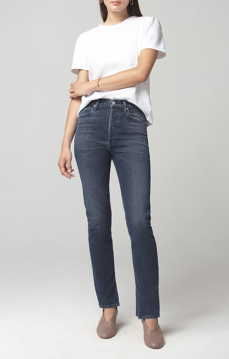 olivia long high rise slim fit night shift front