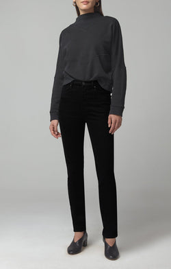olivia long high rise slim fit sueded black front