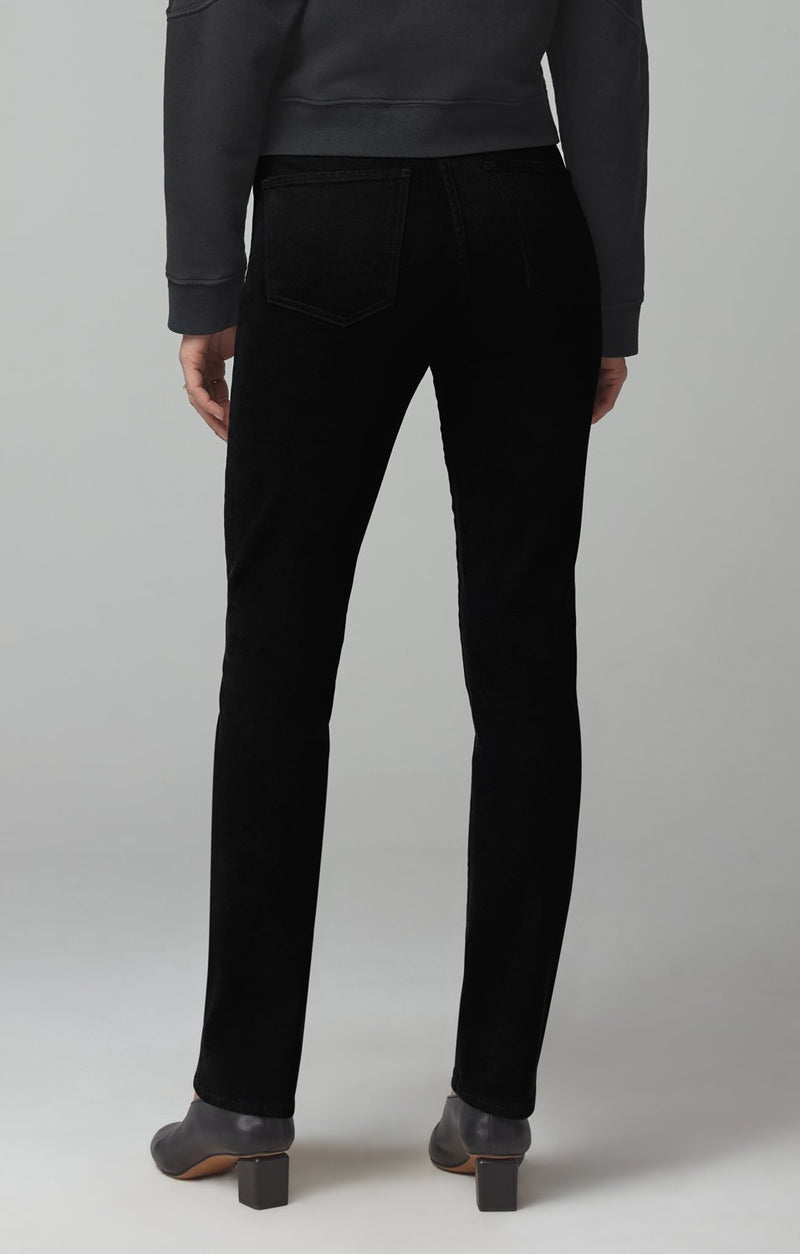 olivia long high rise slim fit sueded black side