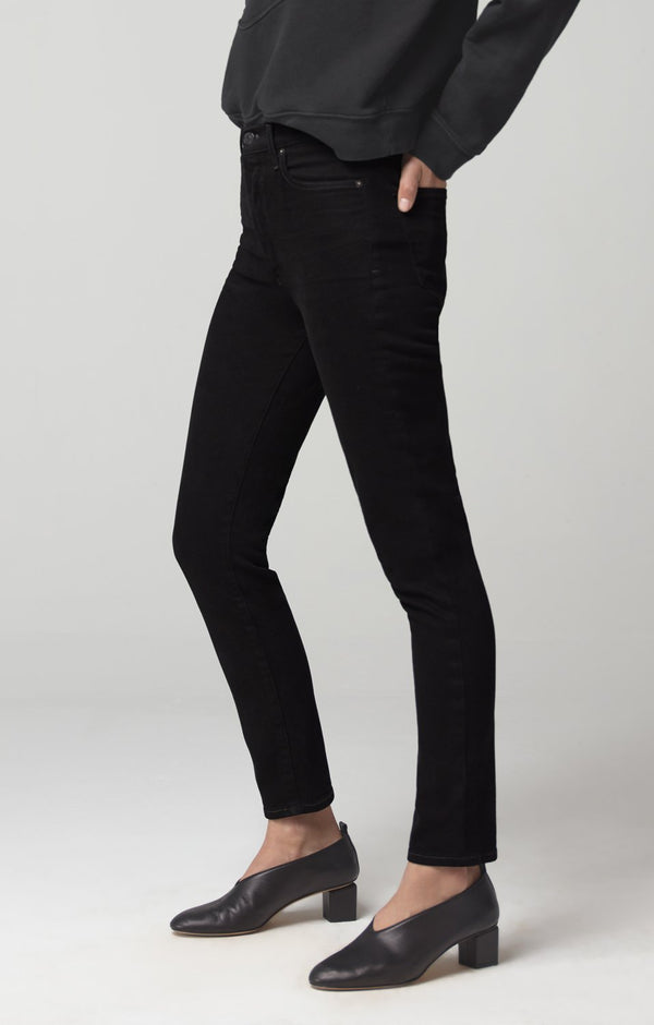 olivia high rise slim fit sueded black back