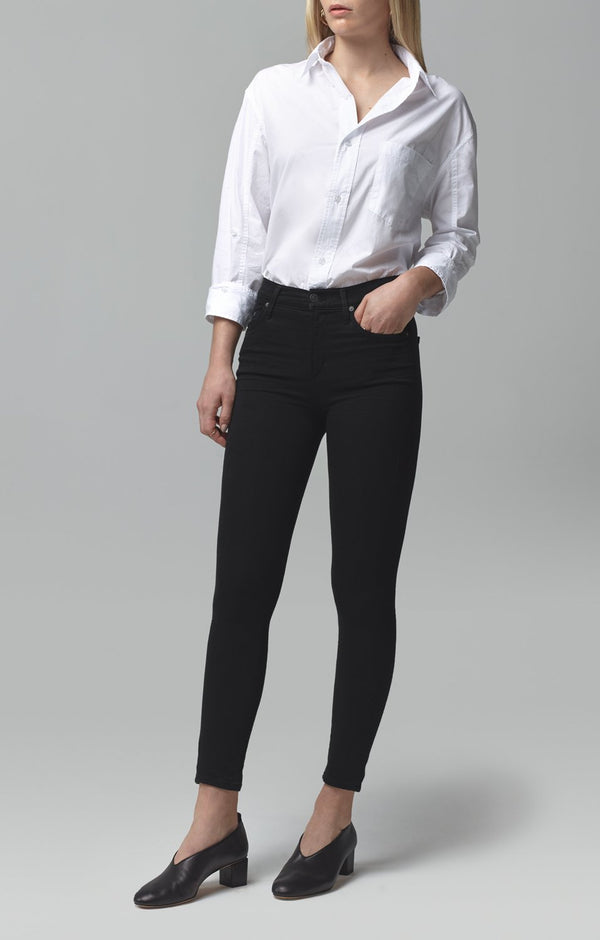 rocket crop mid rise skinny fit all black front