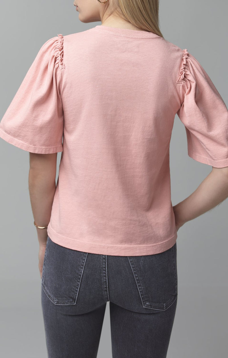 vera gathered shoulder top vintage rose detail