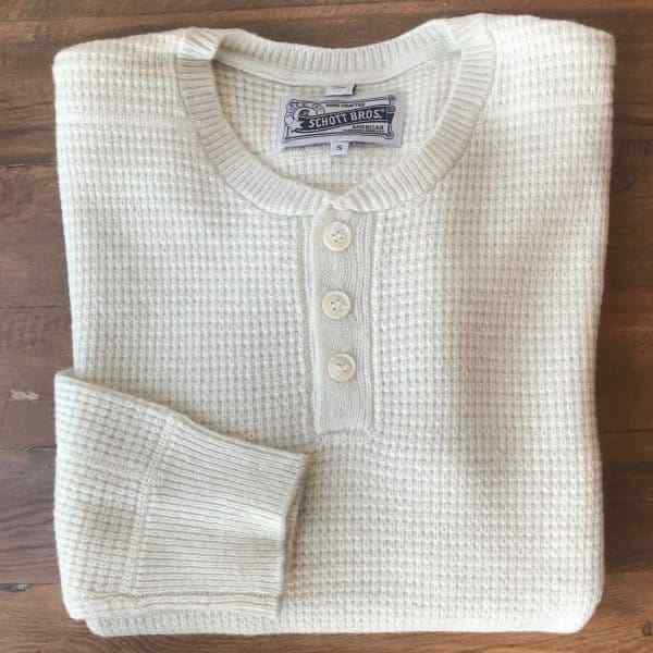 Schott SW1611 Button Henley Sweater OFFWHITE Mens Sizes L & XL - All Mixed Up