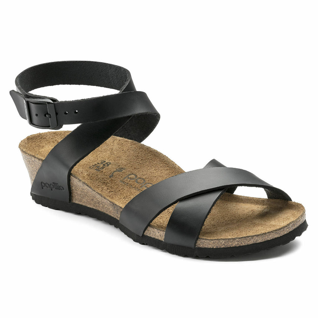 Birkenstock Papillio Black Lola Leather Traditional Footbed - All Mixed Up