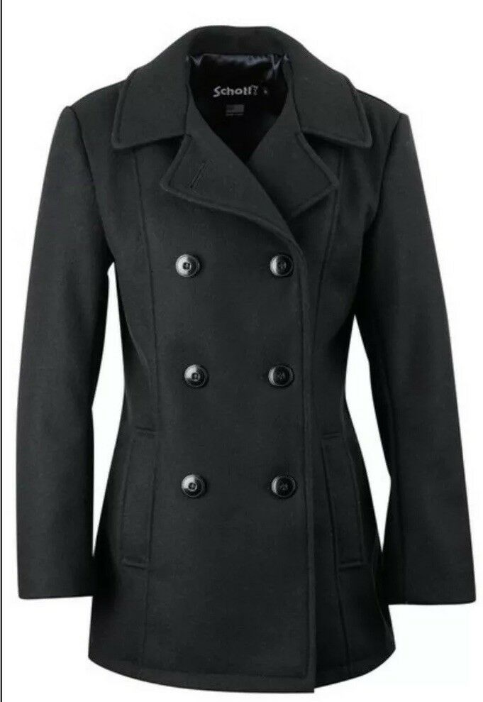 Schott DU751W BLACK Women's Lightweight Fitted Pea Coat Size LARGE & XTRA LARGE - All Mixed Up