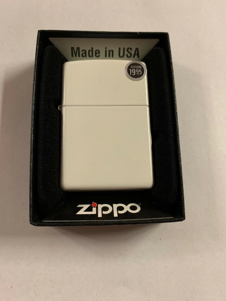 Zippo Lighter 214 White Matte Windproof Classic Theme NEW - All Mixed Up