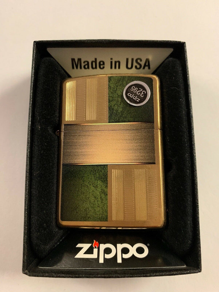 Zippo Choice Brushed Brass with Green Inlays WindProof Lighter 28796 NEW - All Mixed Up