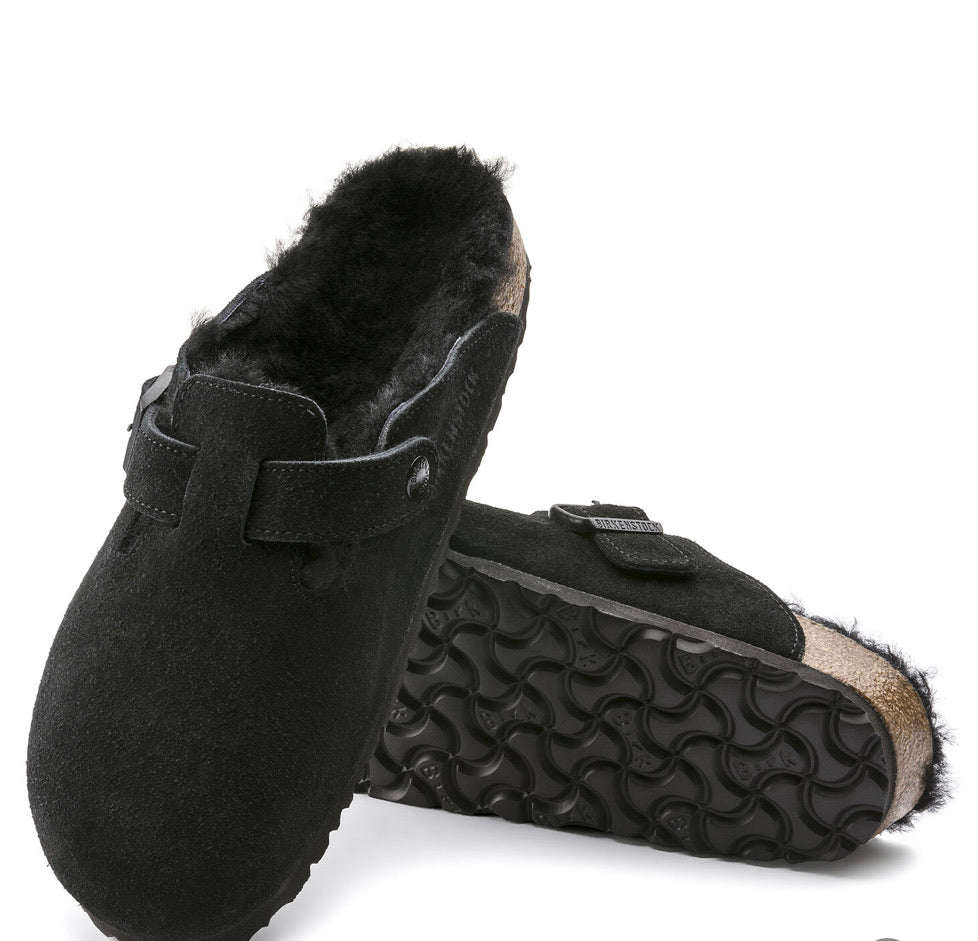 "Birkenstock Boston Black Shearling Fur ""Suede"" - All Mixed Up"