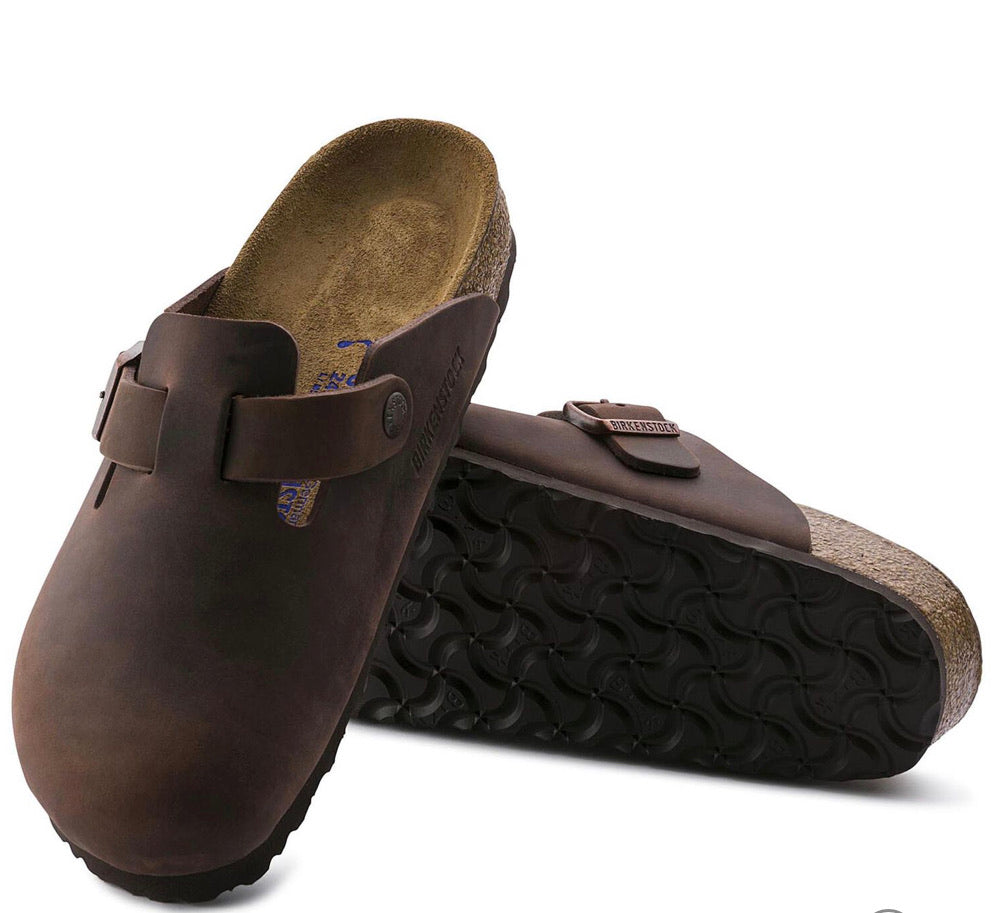 Birkenstock Boston Tobacco Brown Leather SoftFootbed Clog - All Mixed Up