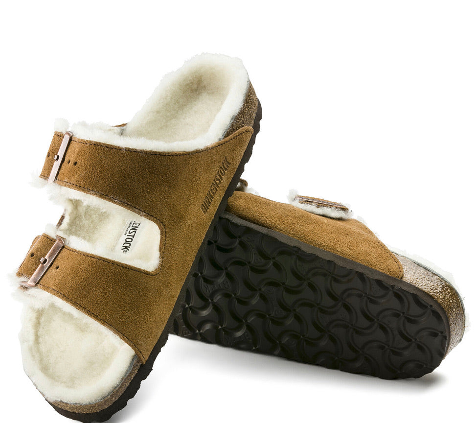 Birkenstock Arizona Mink Shearling Fur Suede Leather - All Mixed Up
