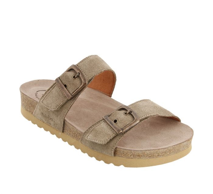 "Taos Maximo Slide Sandal Womens ""Taupe Suede"" - All Mixed Up"