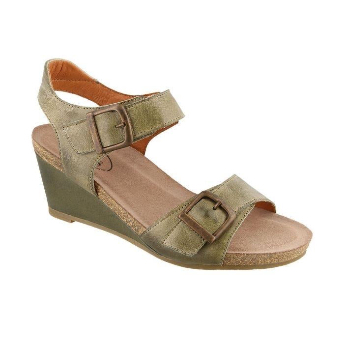 Taos Women's Wedge Sandal Buckle Up - Herb Green - All Mixed Up
