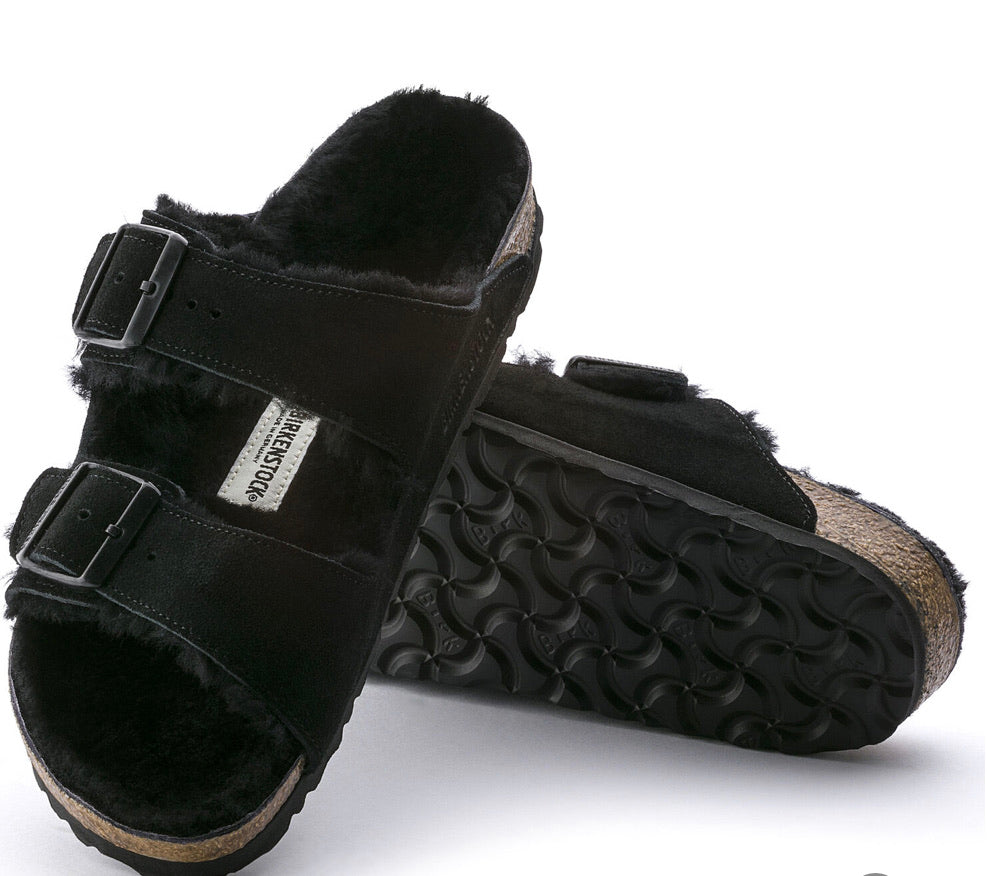 Birkenstock Arizona Black Shearling Fur Suede Leather - All Mixed Up