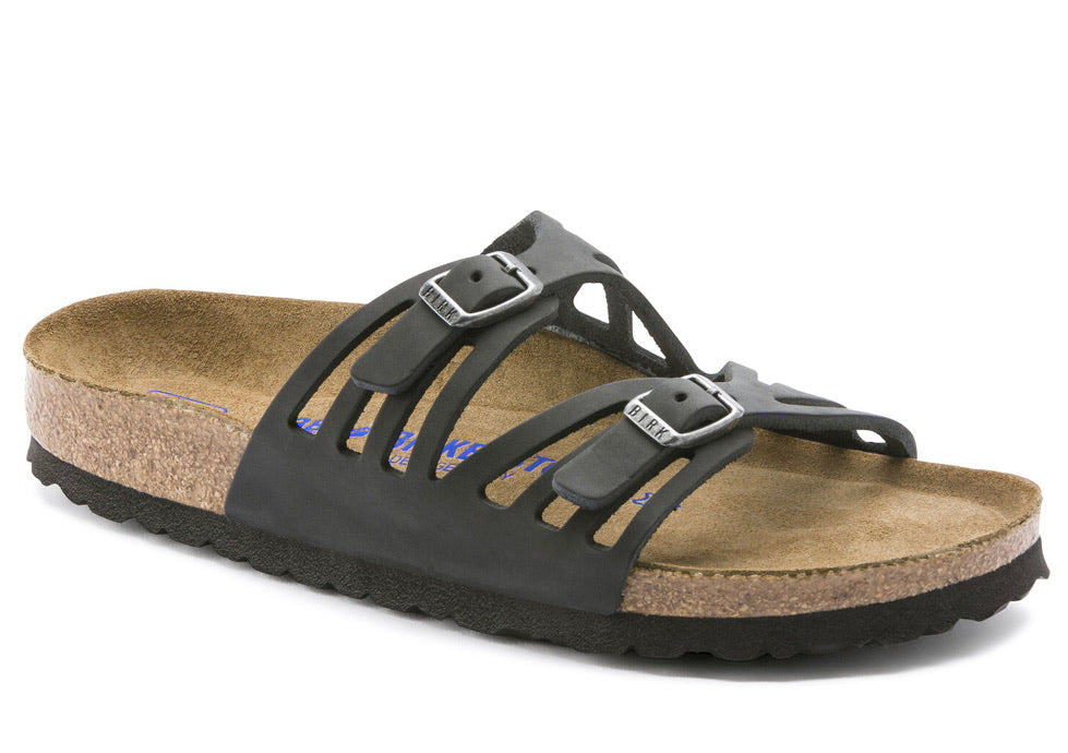 Birkenstock Granada Black Leather SoftFootbed Women's Sandal - All Mixed Up