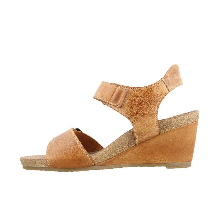 "Taos Buckle Up Womens Wedge Sandal ""Camel"" - All Mixed Up"