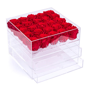25 Real Infinity, Preserved Roses In A Clear Makeup/ Jewellery Box With 2 Drawer Inserts
