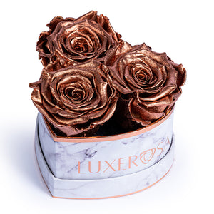 White Marble, Rose Gold, Small Heart Shaped Box With 3 Forever Roses - real roses preserved to last longer