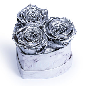 Small, White Marble effect with Silver logo, Heart Shaped box with 3 Infinity Roses - real roses preserved to last longer