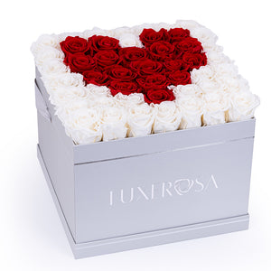 Large Parisian Style Hatbox with 49 Infinity Forever Roses That Last A Year In a Heart Shape
