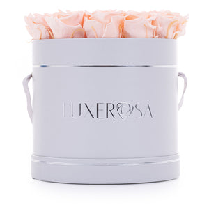 Round Parisian Style Hatbox Arrangement with Infinity/ Forever Rose's That Last A Year
