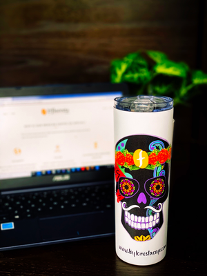 "FLORESTA CAFE - 20 OZ DOUBLE WALL INSULATED SKINNY TUMBLER -""DIA DE MUERTOS"" BLACK"