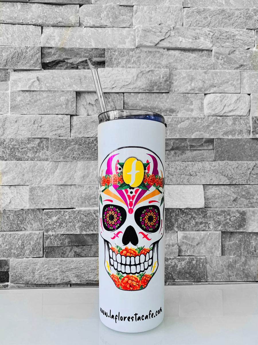 "FLORESTA CAFE - 20 OZ DOUBLE WALL INSULATED SKINNY TUMBLER -""SUGAR SKULL"""