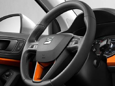 SEAT Ateca Leather Steering Wheel Trim in Samoa Orange