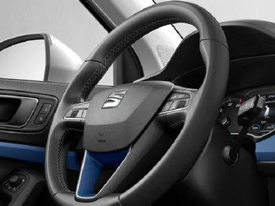 SEAT Ateca Leather Steering Wheel Trim  in Connect Blue