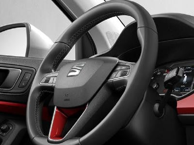 SEAT Ateca Leather Steering Wheel Trim in Emotion Red