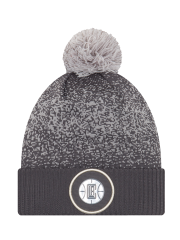 LA Clippers On Court Graphite Pom Cuff Knit Hat