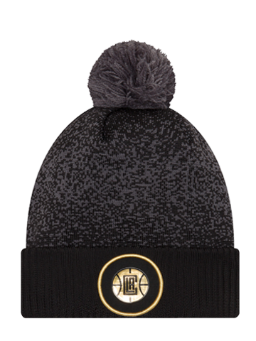 LA Clippers On Court Black and Gold Pom Cuff Knit Hat