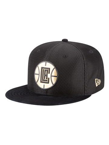 LA Clippers Youth 9FIFTY On Court Black and Gold Lux Mesh Faux Sued Fit Cap