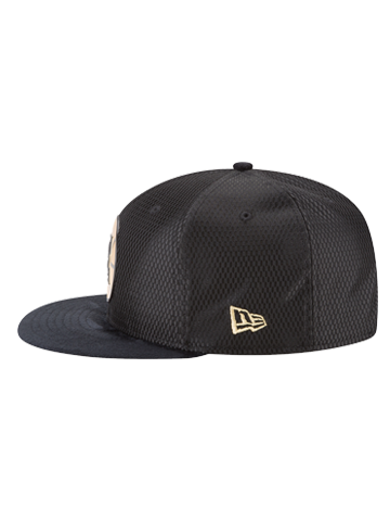 LA Clippers 9FIFTY On Court Black and Gold Lux Mesh Faux Suede Adjustable Cap