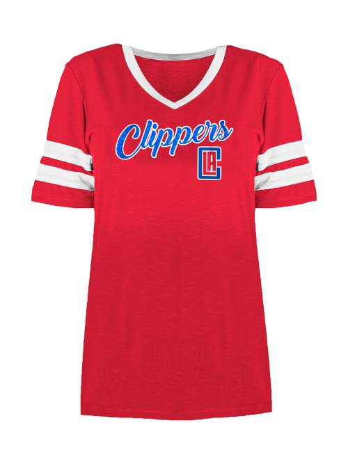 LA Clippers Women's Stripe Sleeve V-Neck T-Shirt
