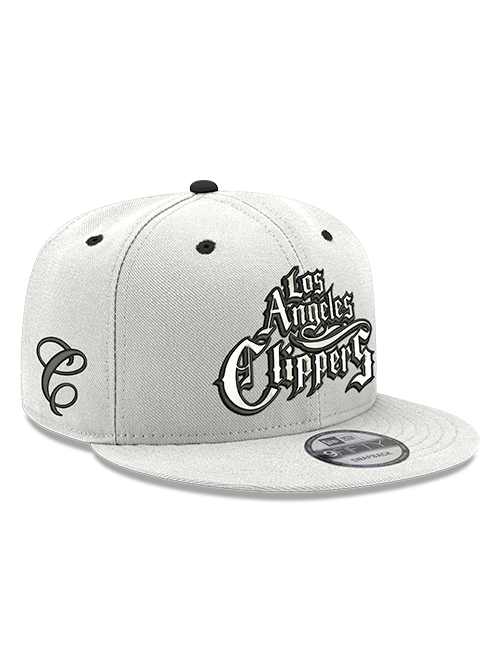 LA Clippers 9FIFTY Mister Cartoon Logo Adjustable Snapback Cap - White
