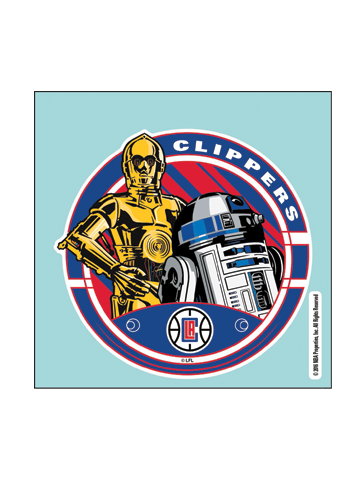LA Clippers Star Wars C3PO R2D2 Perf Cut Decal
