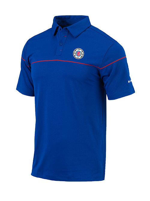 LA Clippers Breaker Short Sleeve Polo - Royal/Red