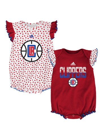 Los Angeles Clippers Infant Girls Polka Fan Creeper Set