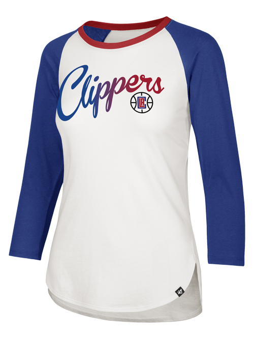 LA Clippers Women's Gradient Script Splitter Raglan Long Sleeve T-Shirt