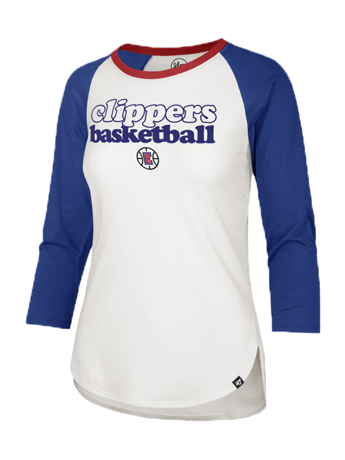 LA Clippers Womens Hollow Stack Splitter Long Sleeve Tee - White/Black