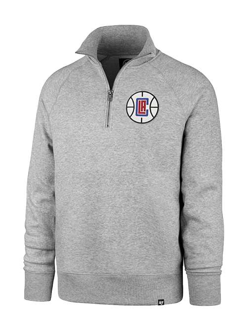 Clippers Headline Quarter Zip Pullover - Grey