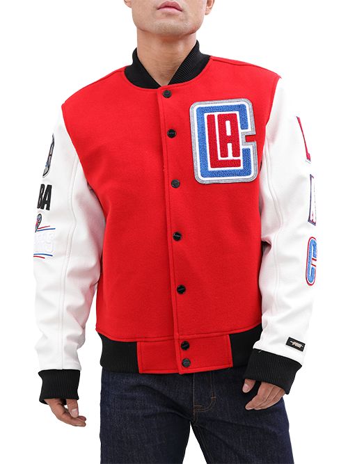 LA Clippers Blended Logo Wool/Leather Button-Up Varsity Jacket - Red/White