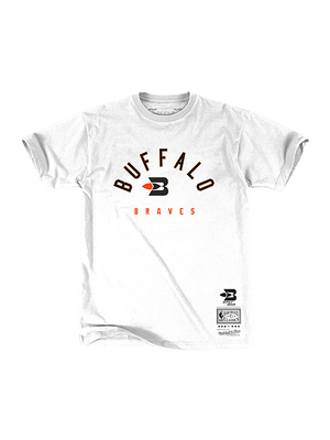 LA Clippers Classic Edition Buffalo Braves Arch T-Shirt - White/Orange
