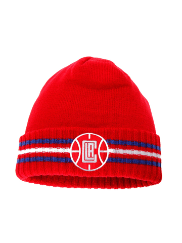 LA Clippers 3 Stripe Cuffed Knit Beanie
