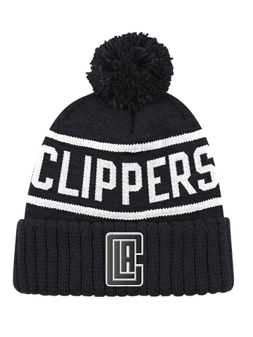 Los Angeles Clippers Reflective Patch Hi Five Pom Cuffed Knit Hat