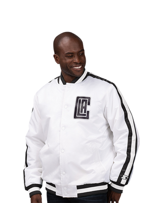 LA Clippers City Edition Varsity Satin Jacket - White/Black
