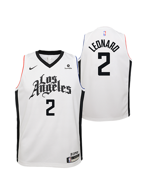 LA Clippers Youth Kawhi Leonard City Edition Swingman Jersey - White