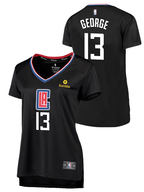 buy popular 6ec92 9e260 LA Clippers Women's Paul George Statement V-Neck Replica Jersey