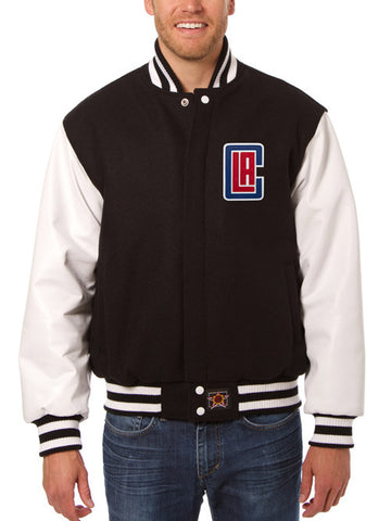LA Clippers Leather Sleeve Jacket - Black/White